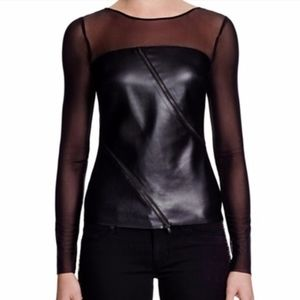 Bailey 44 Long Sleeves faux leather front zip top